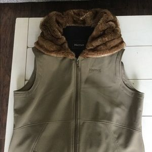 Marmot fur hooded vest.     NWOT